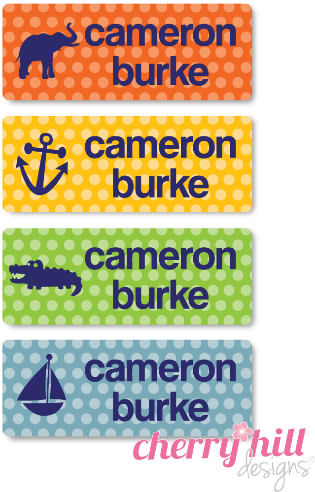 waterproof name labels - set of 72 - POLKA NAVY