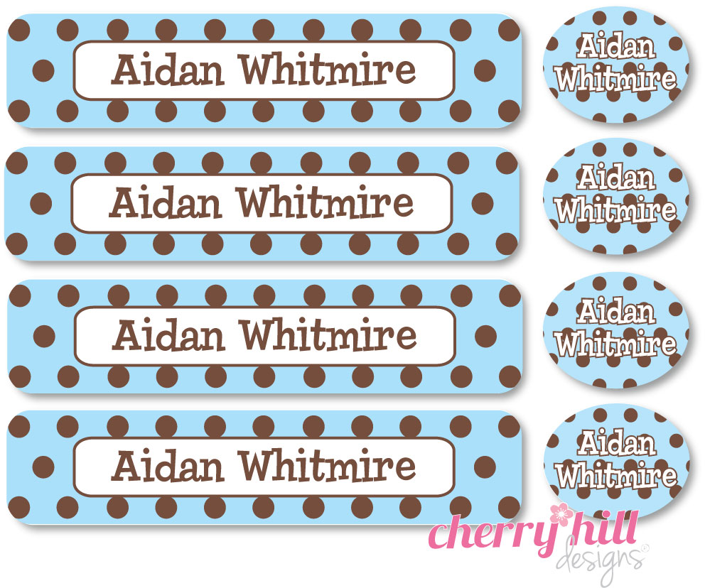 waterproof labels combo pack - set of 48 - CHOCOLATE DOTS BLUE