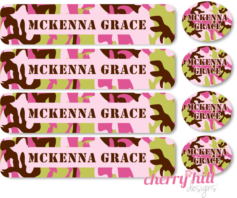 waterproof labels combo pack - set of 48 - CAMO PINK