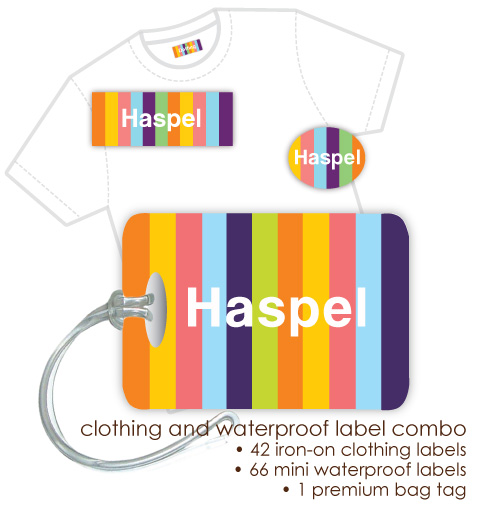 Kids Waterproof & Clothing Name Labels & Bag Tag Packs - Candy