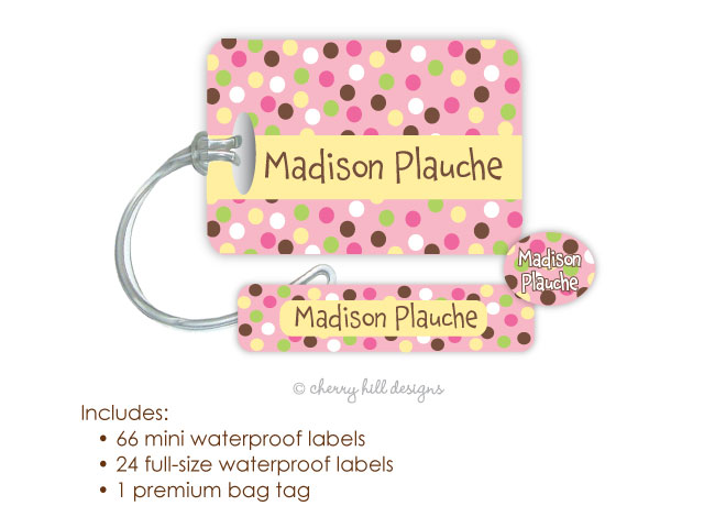 Kids Waterproof Name Labels & Bag Tag Combo Packs - Carnival Pink