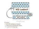Kids Waterproof Name Labels & Bag Tag Combo Packs - Chocolate Dots Blue