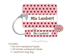 Kids Waterproof Name Labels & Bag Tag Combo Packs - Chocolate Dots Pink