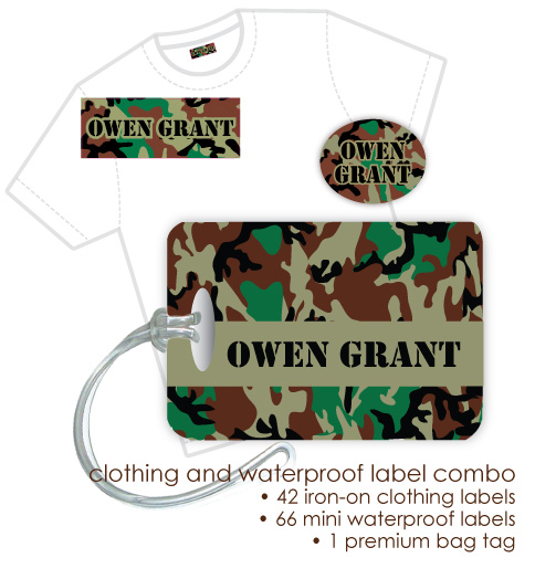 Kids Waterproof & Clothing Name Labels & Bag Tag Packs - Camo Brown
