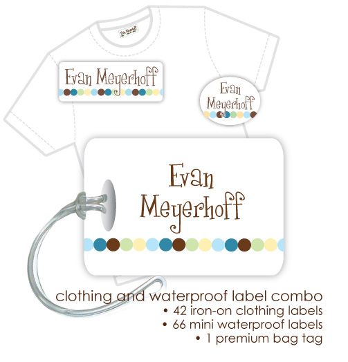 Kids Waterproof & Clothing Name Labels & Bag Tag Packs - Dot Dot Dot Blue