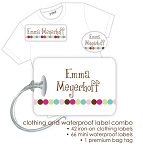 Kids Waterproof & Clothing Name Labels & Bag Tag Packs - Dot Dot Dot Pink