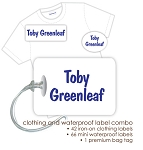 Kids Waterproof & Clothing Name Labels & Bag Tag Packs - Plain Blue