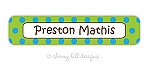 waterproof name labels - set of 24 - CONFETTI LIME/BLUE