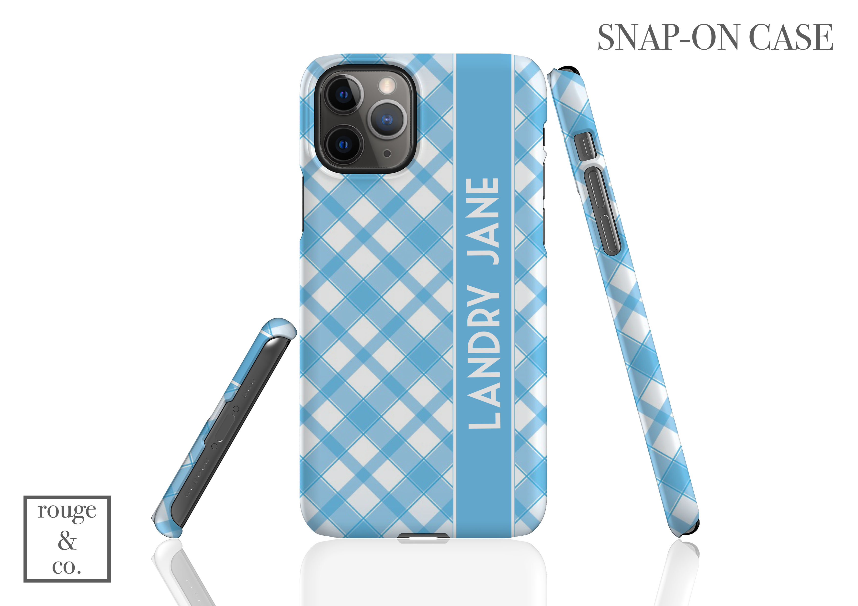 Personalized iPhone Case - BLUE & WHITE PLAID