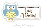 waterproof name labels - set of 24 - BLUE OWL