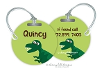 Personalized round premium bag tag - DINOSAUR