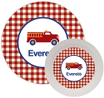 Personalized Kids Melamine Dinnerware - FIRE TRUCK