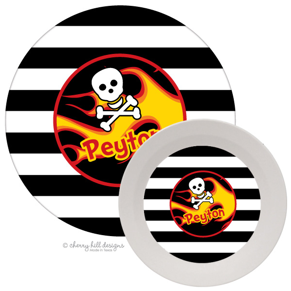 Personalized Kids Melamine Dinnerware - FLAMES & SKULL
