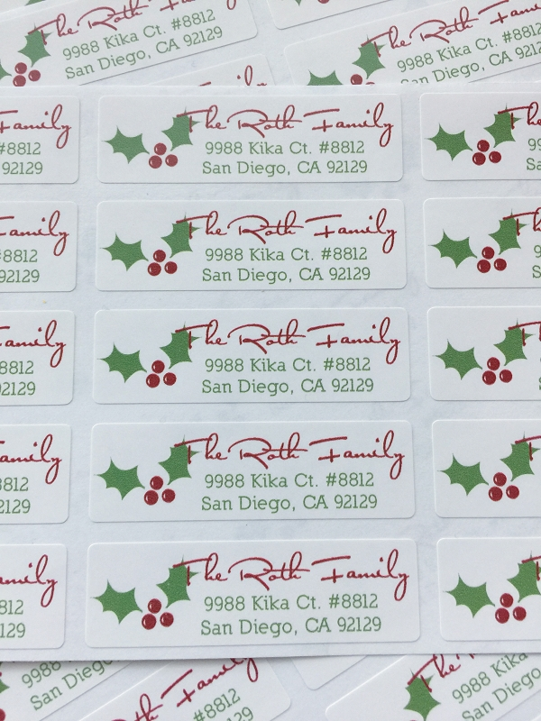 Classic Holly {holiday} small labels