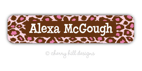 waterproof name labels - set of 24 - JUNGLE FUN PINK