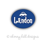 waterproof name labels - set of 66 - BLUE CAR