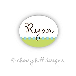 waterproof name labels - set of 66 - CONFETTI LIME/BLUE