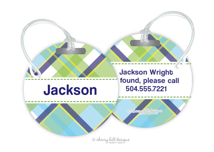 Personalized round premium bag tag - MADRAS BLUE