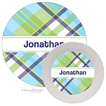 Personalized Kids Melamine Dinnerware - MADRAS BLUE