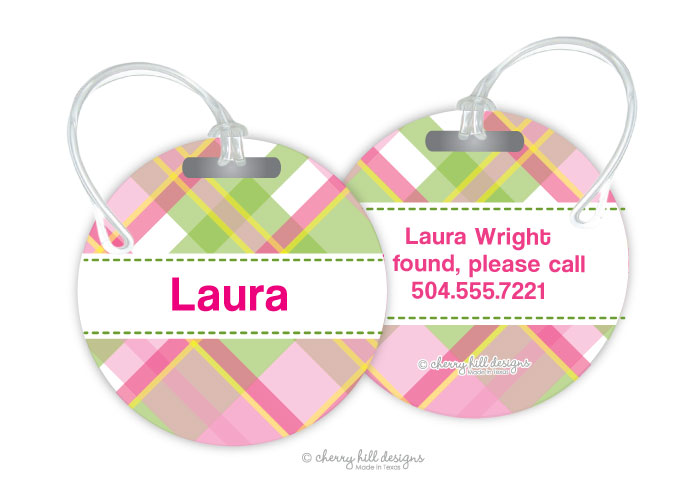 Personalized round premium bag tag - MADRAS PINK