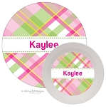 Personalized Kids Melamine Dinnerware - MADRAS PINK