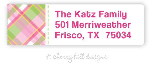 return address labels - set of 75 - MADRAS PINK