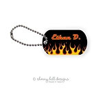 Personalized dog tags - set of 2 - CHOPPER FLAMES