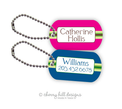 Personalized dog tags - set of 2 - PREPPY [pink or blue]