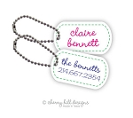 Personalized dog tags - set of 2 - STITCHED ON [pink or blue]