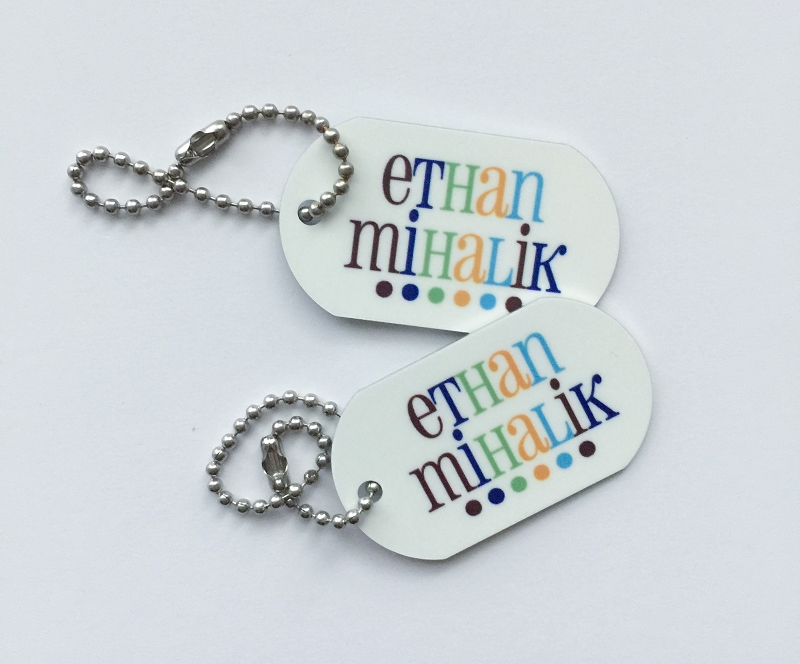 Personalized dog tags - set of 2 - GOOD CHEER BLUE