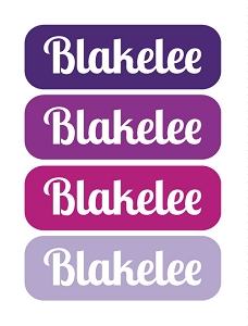 tiny iron-on clothing name labels - set of 36 - TOTES PURPLE