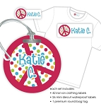 Kids Waterproof & Clothing Name Labels & Bag Tag Packs - Peace