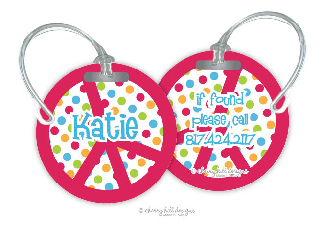Personalized round premium bag tag - PEACE SIGN
