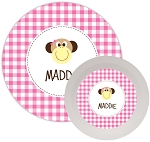 Personalized Kids Melamine Dinnerware - MONKEY PINK