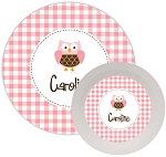 Personalized Kids Melamine Dinnerware - OWL