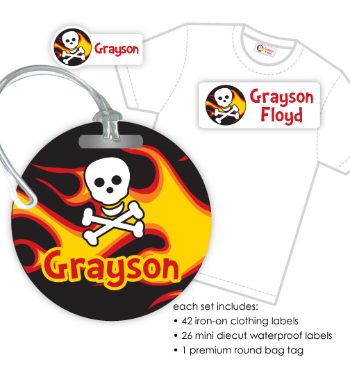 Kids Waterproof & Clothing Name Labels & Bag Tag Packs - Flames & Skull
