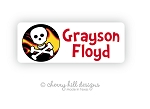 Pirate skull iron on name labels