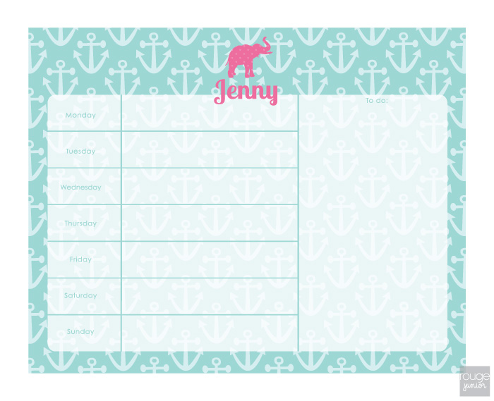 personalized weekly planner - ANCHORS