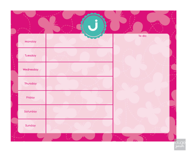 personalized weekly planner - BUTTERFLY