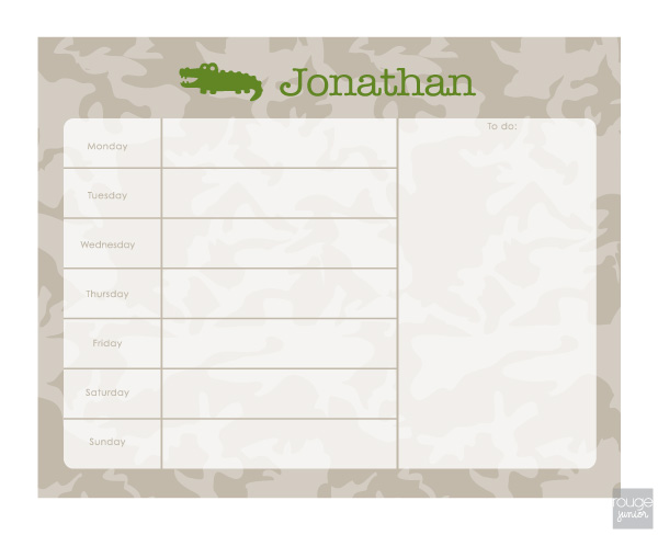 personalized weekly planner - CAMO