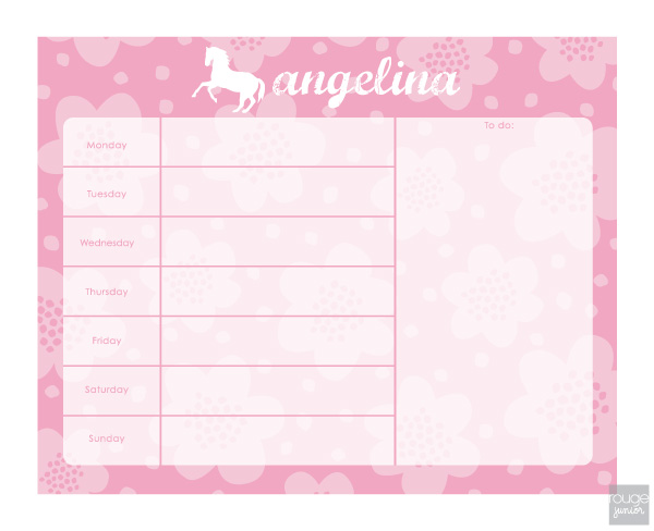 personalized weekly planner - FLOWERS