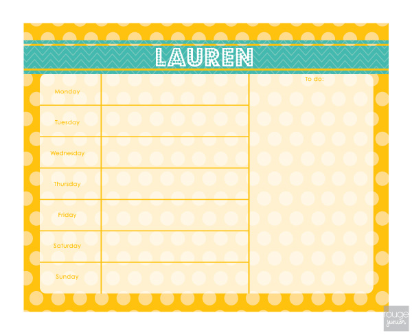 personalized weekly planner - POLKA DOT