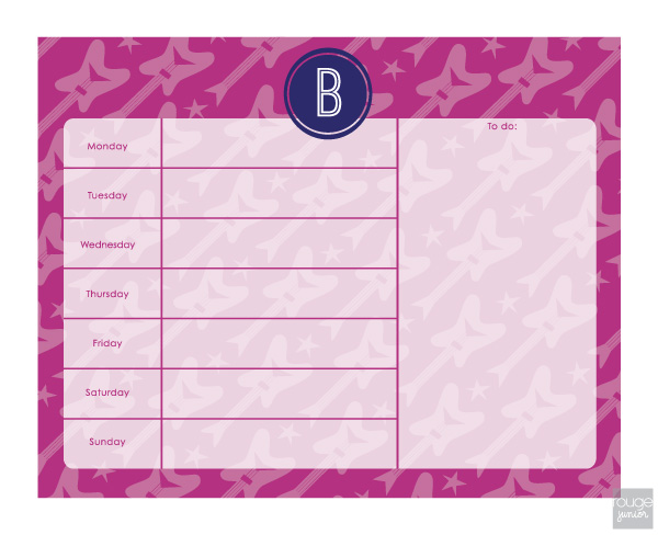 personalized weekly planner - ROCKSTAR