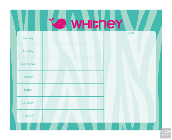 personalized weekly planner - ZEBRA
