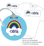 Kids Waterproof & Clothing Name Labels & Bag Tag Packs - Rainbow