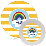 Personalized Kids Melamine Dinnerware - RAINBOW