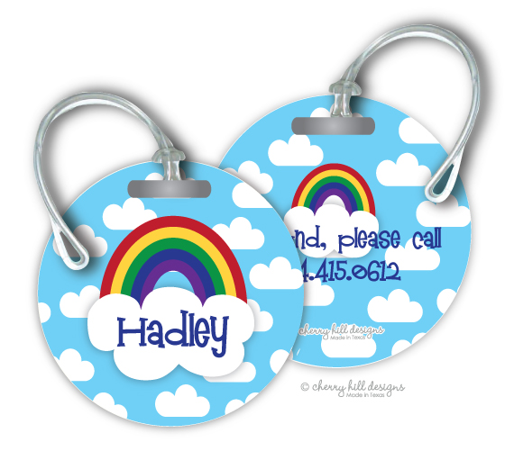 Personalized round premium bag tag - RAINBOW NEW
