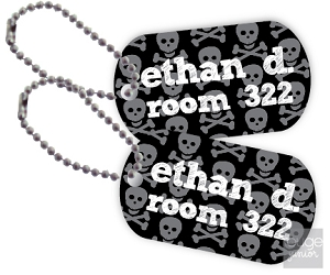 Personalized dog tags - set of 2 - SKULLS