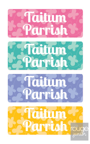 peel & stick clothing name labels - set of 64 - BUTTERFLY
