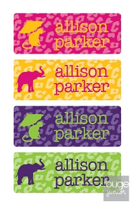 waterproof name labels - set of 72 - CHEETAH